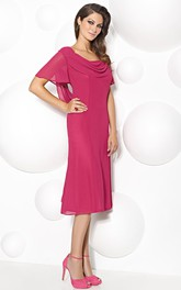 Tea-Length Appliqued Poet Sleeve Cowl Neck Chiffon Mother Of The Bride Dress