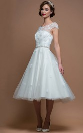 A-Line Scoop-Neck Cap-Sleeve Jeweled Tea-Length Tulle Wedding Dress