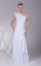 One-Shoulder Sheath Chiffon Dress With Draping