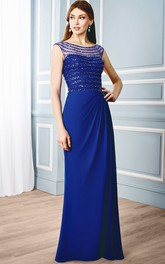 Sheath Bateau Long Side-Draped Cap-Sleeve Chiffon Formal Dress With Illusion Back And Beading