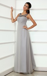 Modest Scoop Neckline Empire Tulle A-Line Gown Beading Top