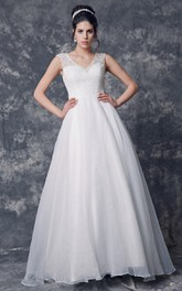 Cap Sleeved Beaded V Neck Organza Ball Gown With Lace Bodice