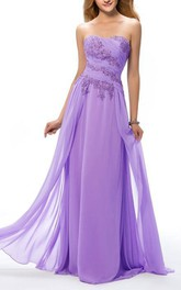 Delicate Sweetheart Appliques Ruched Full Length Prom Dress