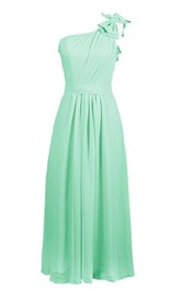 One-shoulder Chiffon A-line Gown With Bow