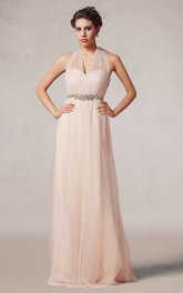 Floor Length A-line Tulle Dress With Beaded Waist