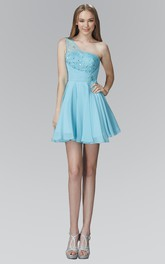 A-Line Mini One-Shoulder Sleeveless Chiffon Dress With Beading And Pleats