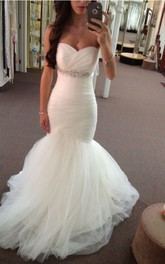 Sweetheart Empire Mermaid Tulle Wedding Gown With Ruching