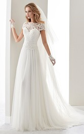 Scalloped-Neck Illusion Draping Wedding Dress With Lace Bodice And T-Shirt Sleeves