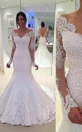 Long Lace Sleeve V Neck Mermaid Long Lace Dress