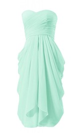 Sweetheart Ruched Short Dress With Drapping