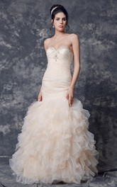 Beaded Sweetheart Neckline Ruffled Mermaid Organza Dress With Lace Up
