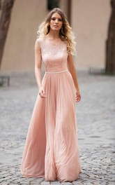 Open Back Illusion Boat Neck Sleeveless Long Dress With Lace Bodice