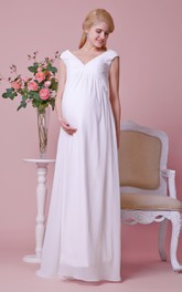 Graceful V-neck Cap-sleeved Sheath Chiffon Floor Length Dress