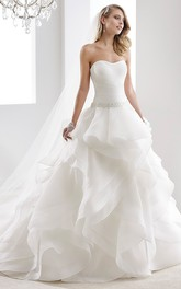 Illusion-Neck Sheath Mermaid Wedding Dress With Beaded Design And Brush Train