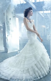 Stunning Lace Bodice Layered Organza Dress With Satin Ribbon