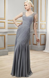 V-Neck Sleeveless Criss-Cross Chiffon Formal Dress