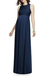 Maternity Sleeveless Chiffon Bridesmaid Dress with Lace Bodice