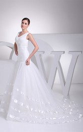V-Neck A-Line Sleeveless Tulle Overlay and Dress With Beading