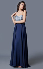 Magnificent Sweetheart Long Chiffon Dress with Sequined Bodice