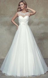 A-Line Scoop Criss-Cross Sleeveless Maxi Tulle&Satin Wedding Dress With Beading And Flower