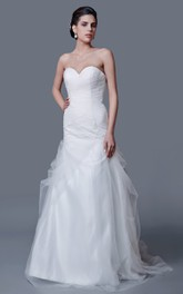 Dramatic Sweetheart A-line Tulle Gown With Ruching