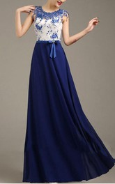 Sumptuous Appliques Floor-Length Beaded A-Line Prom Dress