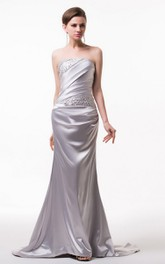 Strapless Satin Gown With Asymmetrical Ruching and Beading
