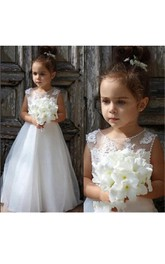 Flower Girl Pearl Neck Tulle Ball Gown With Appliques