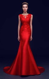 Strapless Scoop Neck Pleated Mermaid Satin Gown With Appliques