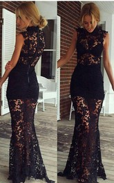 Sexy Black High-Neck 2016 Prom Dresses Lace Sleeveless Sheer Skirt