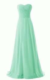 Chic Sweetheart Ruched Chiffon A-line Gown With Train