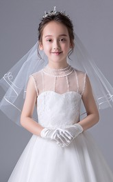 Korean New Short Single Layer Lace Flower Girl Veil