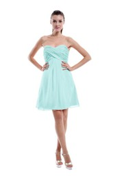 Delicate Strapless Sweetheart Criss-cross Empire Short Dress