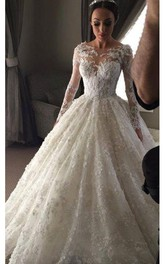 Delicate Illusion Ball Gown Wedding Dress 2018 Tulle Lace Appliques