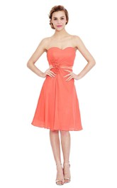 Glamorous Sweetheart Chiffon Dress With Floral Waist