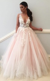 Ball Gown Lace Tulle V-neck Sleeveless Zipper Low-V Back Dress
