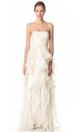 Long Strapless Ruffled A-line Organza Dress