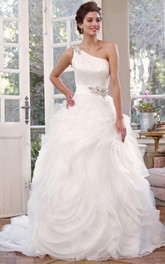 Maxi One-Shoulder Jeweled Organza Wedding Dress With Chapel Train And Corset Back