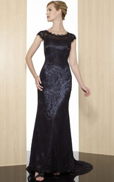 Sheath Cap-Short-Sleeve Appliqued Scoop Maxi Lace Formal Dress With Zipper Back And Sweep Train