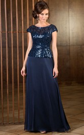 Cap-Sleeved A-Line Long Mother Of The Bride Dress With Sequined Bodice
