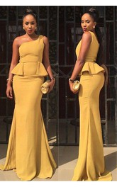 Sexy One Shoulder Mermaid Yellow Prom Dress 2018 Ruffles Sweep Train
