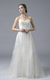 Sweetheart Lace A-line Open Back Tulle Wedding Dress With Appliques And Buttons