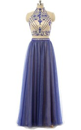 High Neck A-Line Two Pieces Beading Floor-Length Prom Dress