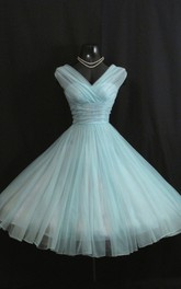 Charming V Neck Empire Chiffon Ball Gown With Bow