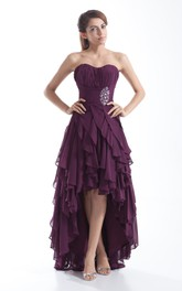 Sweetheart High-Low Dress With Beading and Cascading Ruffles