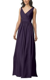 V-neck Strapped Ruched Long Bridesmaid Dress
