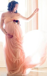 Off-the-shoulder Long Sleeve Chiffon Maternity Dress With Split Front&Split
