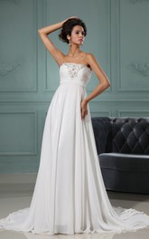 Strapless A-Line Chiffon Dress With Ruching Bodice and Applique