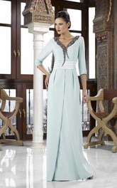 Lace 3-4 Sleeve V-Neck Chiffon Mother Of The Bride Dress With Split Back