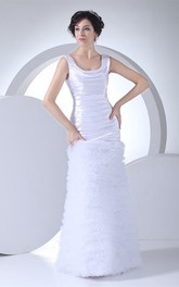 Square-Neck Sheath Sleeveless Ruffled Skirt and Dress With Ruching